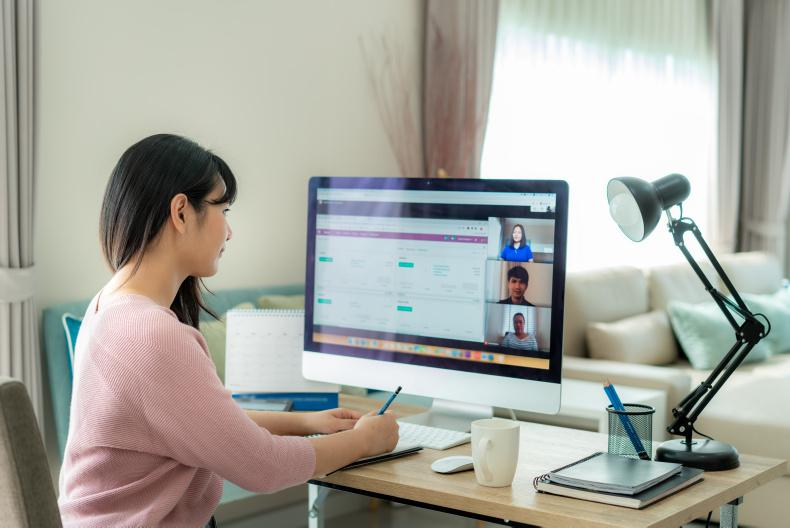 Working from Home on a Computer